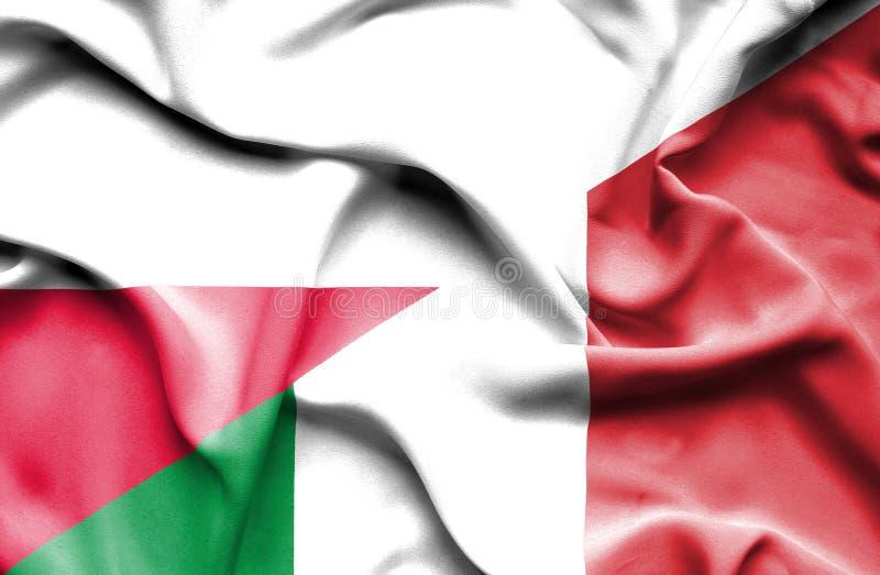 Waving flag of Italy and Poland royalty free illustration