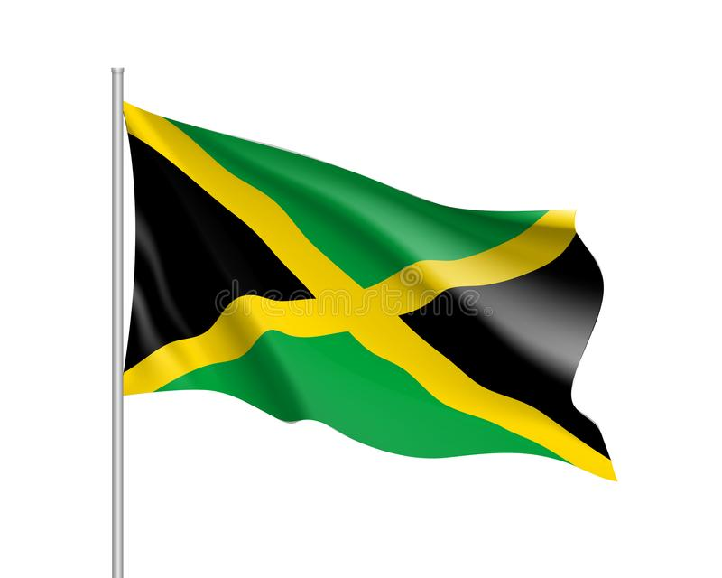 Waving flag of Jamaica. Illustration of North America country flag on flagpole. 3d vector icon isolated on white background vector illustration