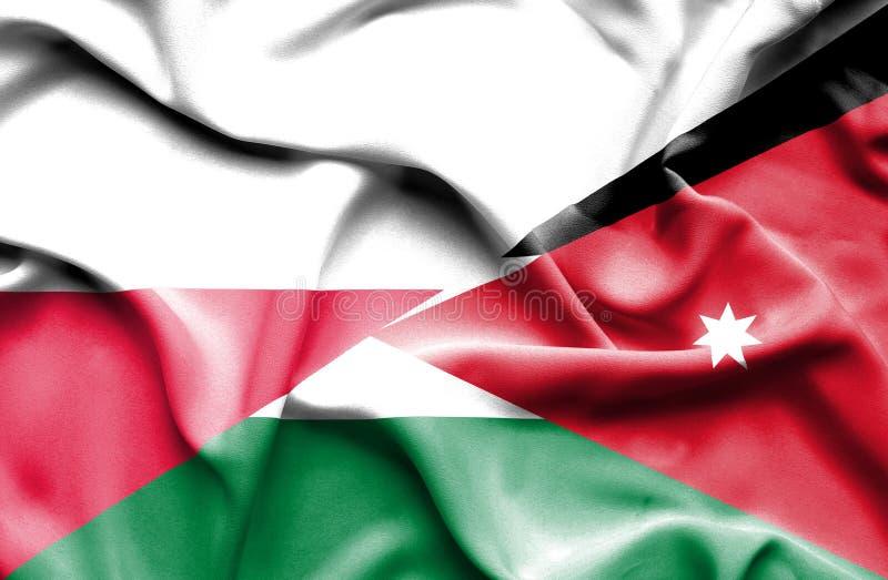 Waving flag of Jordan and Poland stock illustration