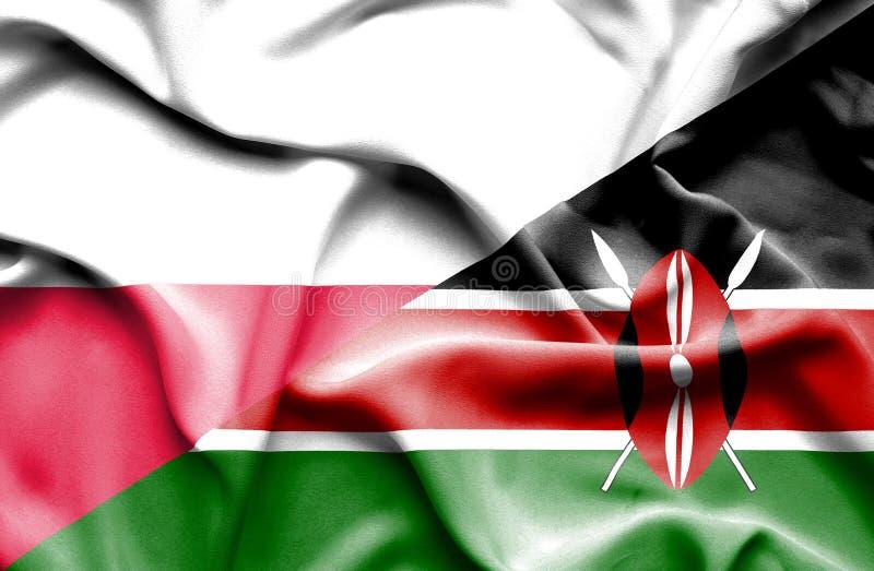 Waving flag of Kenya and Poland royalty free illustration