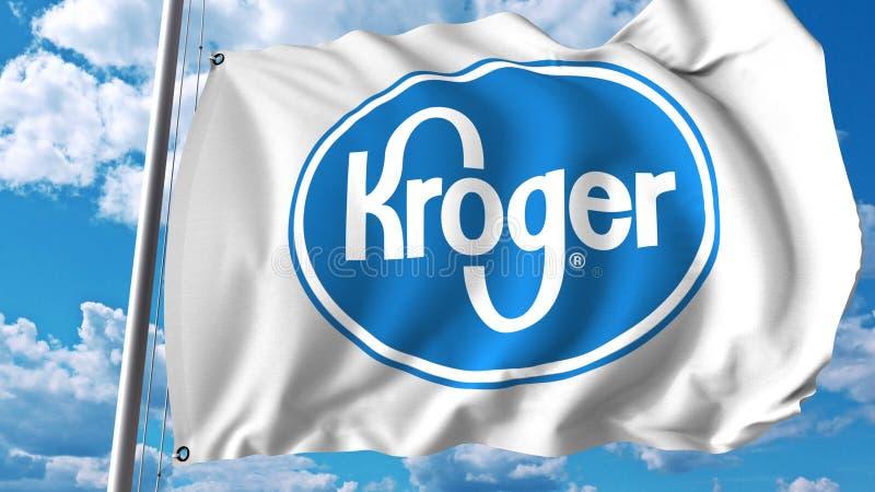 Waving flag with Kroger logo. Editoial 3D rendering royalty free illustration