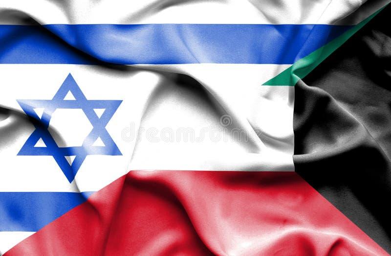 Waving flag of Kuwait and Israel stock illustration