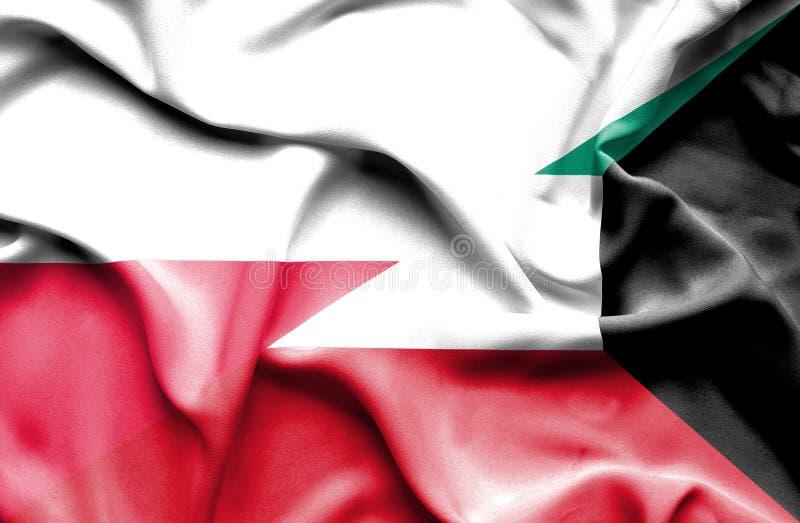 Waving flag of Kuwait and Poland royalty free illustration