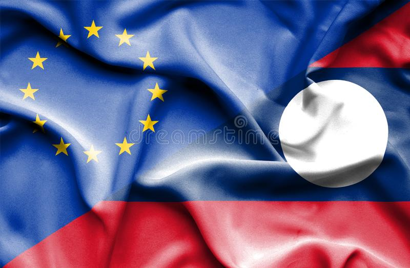 Waving flag of Laos and EU royalty free stock images