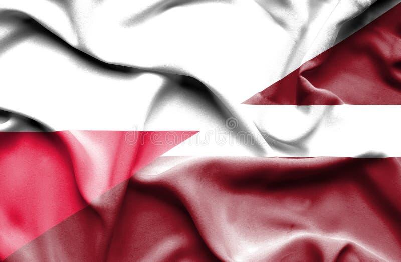 Waving flag of Latvia and Poland stock illustration