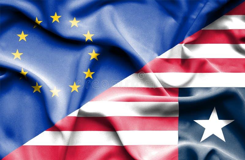 Waving flag of Liberia and EU. Waving flag of Liberia and royalty free stock photos