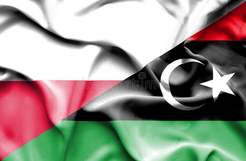 Waving flag of Libya and Poland vector illustration