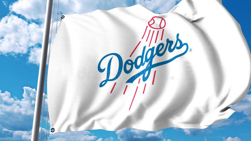 Waving flag with Los Angeles Dodgers professional team logo. Editorial 3D rendering vector illustration