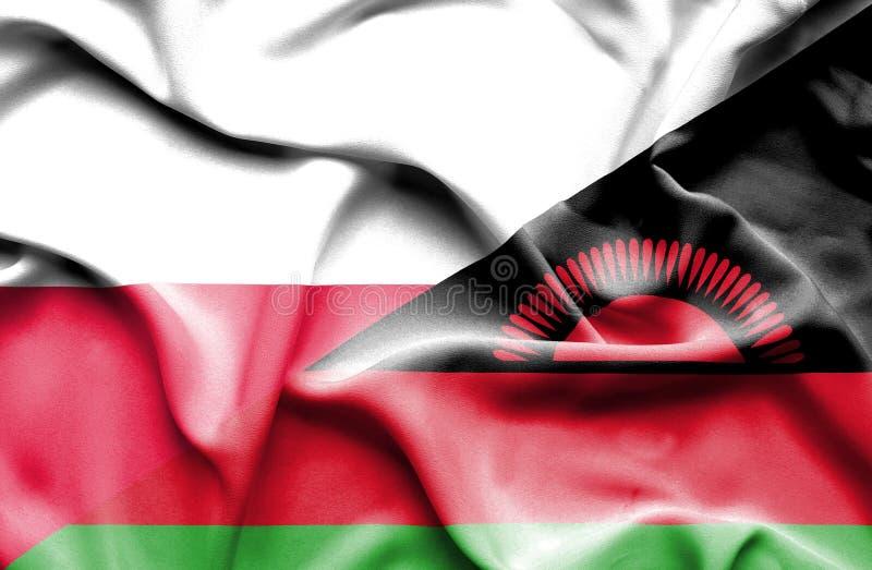 Waving flag of Malawi and Poland vector illustration