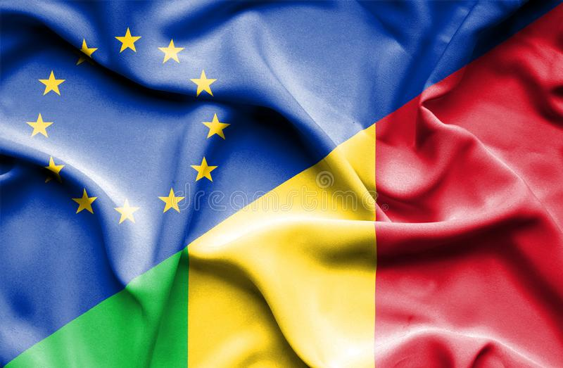 Waving flag of Mali and EU. Waving flag of Mali and royalty free stock images