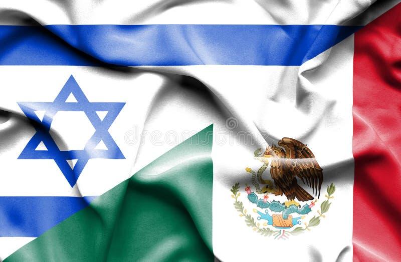 Waving flag of Mexico and Israel royalty free illustration