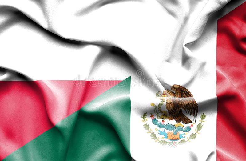 Waving flag of Mexico and Poland vector illustration