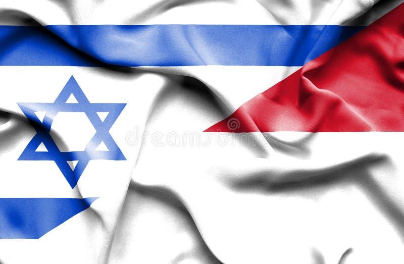 Waving flag of Monaco and Israel vector illustration