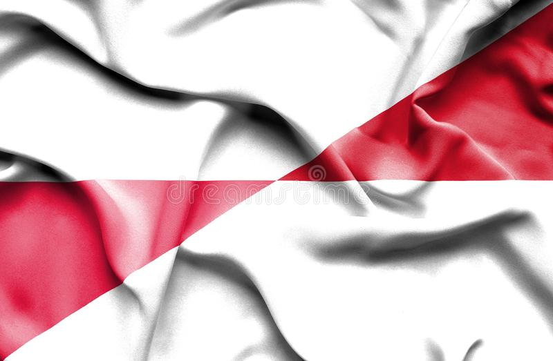 Waving flag of Monaco and Poland royalty free illustration