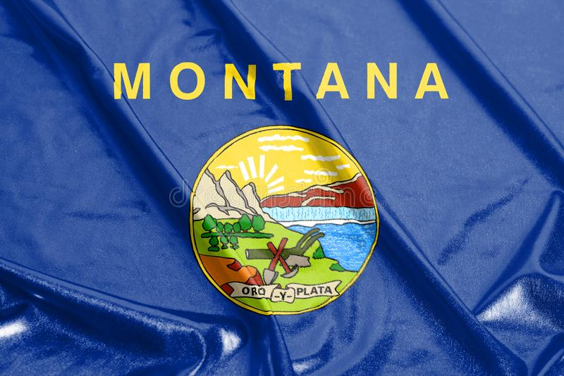 Waving flag of Montana U.S. state flag royalty free stock images