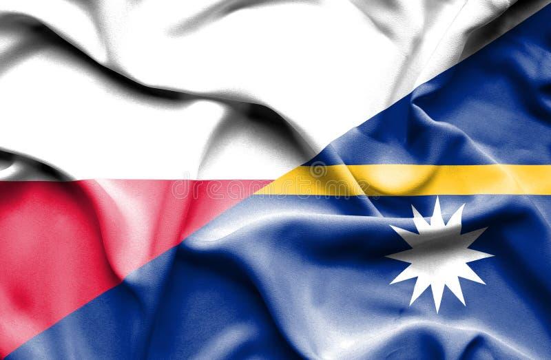Waving flag of Nauru and Poland royalty free illustration