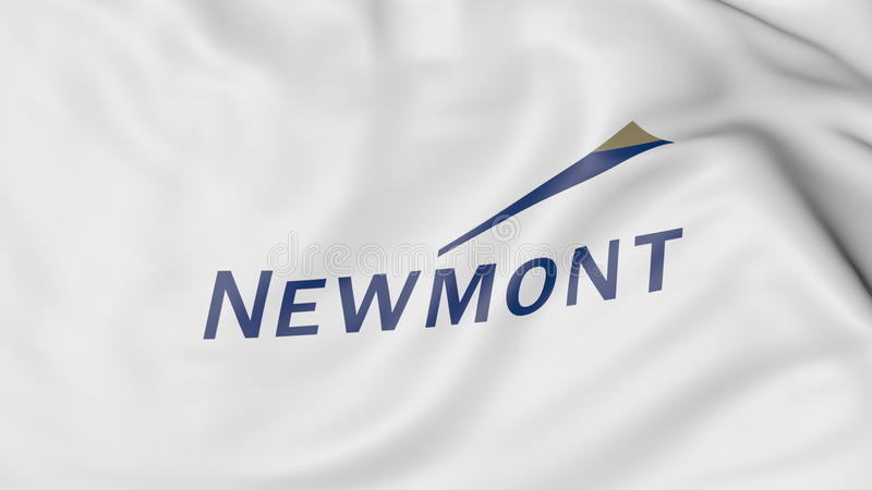 Waving Flag With Newmont Mining Corporation Logo Editorial 3d