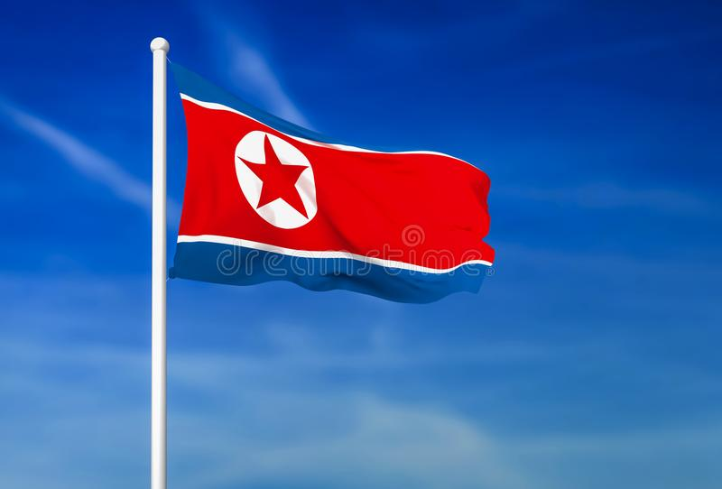 Waving flag of North Korea on the blue sky background stock illustration