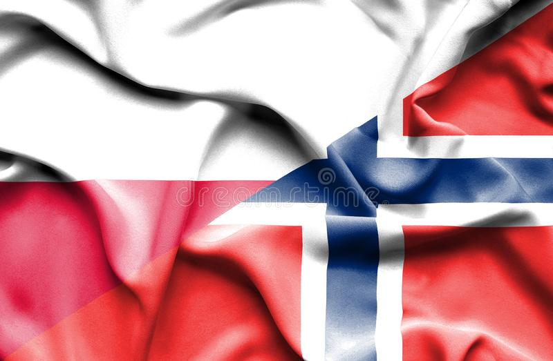 Waving flag of Norway and Poland stock illustration