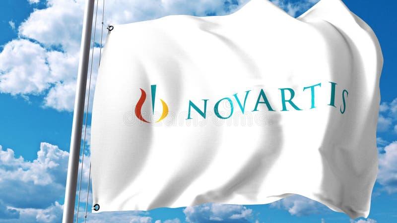 Waving Flag With Novartis Logo Against Clouds And Sky Editorial 3d