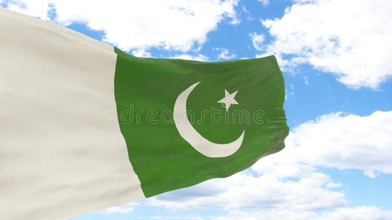 Waving flag of Pakistan on blue cloudy sky. stock photo