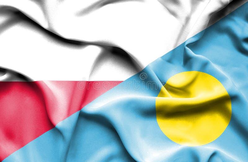 Waving flag of Palau and Poland royalty free illustration