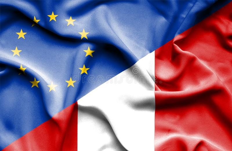 Waving flag of Peru and EU. Waving flag of Peru and stock photography