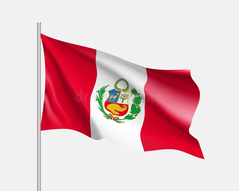 Waving flag of Peru vector illustration