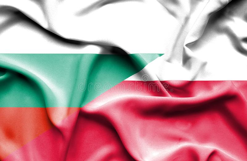 Waving flag of Poland and Bulgaria stock illustration