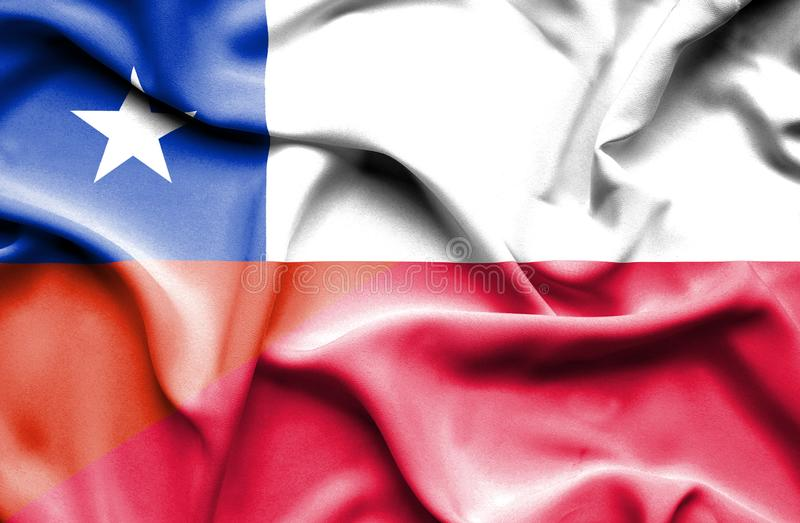Waving flag of Poland and Chile royalty free illustration