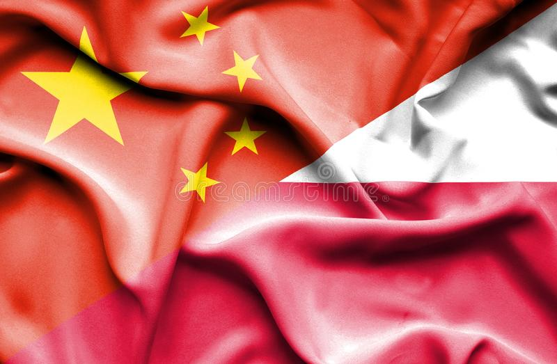 Waving flag of Poland and China. Waving flag of Poland and vector illustration