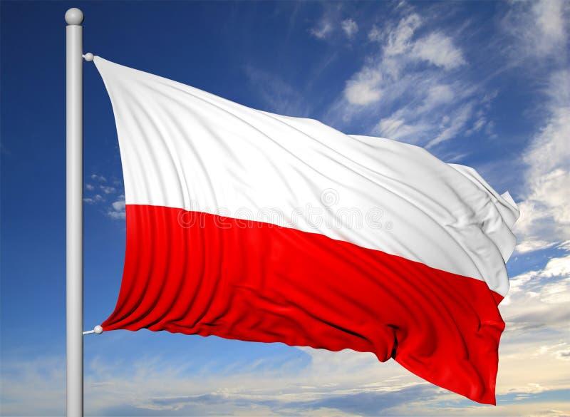 Waving flag of Poland on flagpole stock illustration