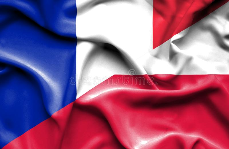 Waving flag of Poland and France vector illustration