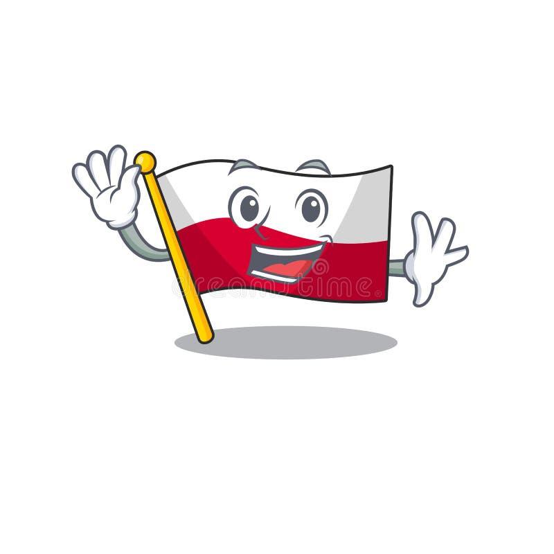 Waving flag poland hoisted on mascot pole vector illustration