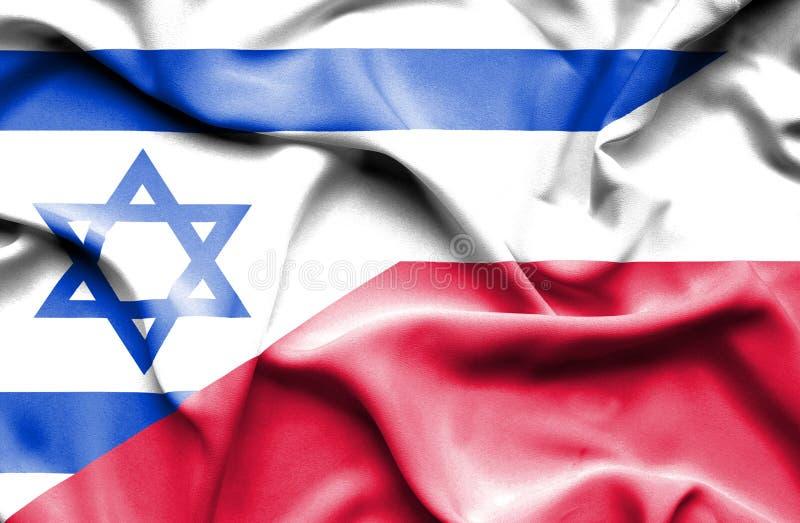 Waving flag of Poland and Israel stock illustration