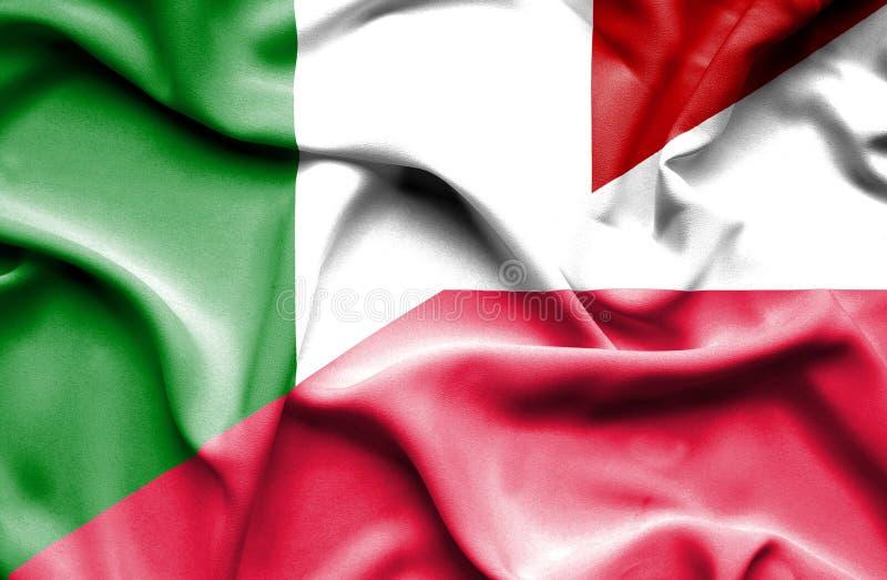 Waving flag of Poland and Italy royalty free illustration
