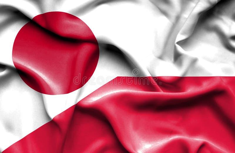 Waving flag of Poland and Japan. Waving flag of Poland and royalty free illustration