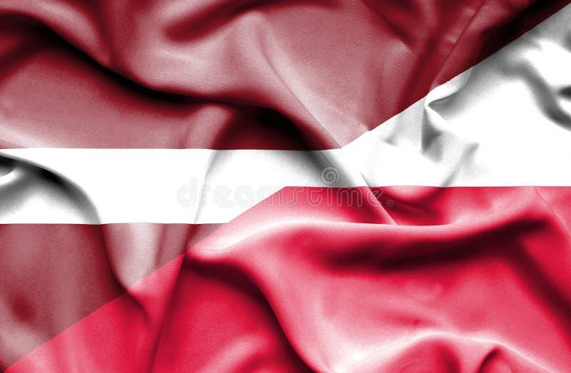 Waving flag of Poland and Latvia royalty free illustration