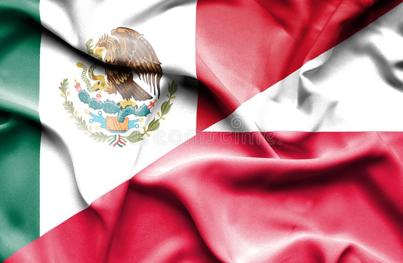 Waving flag of Poland and Mexico. Waving flag of Poland and vector illustration