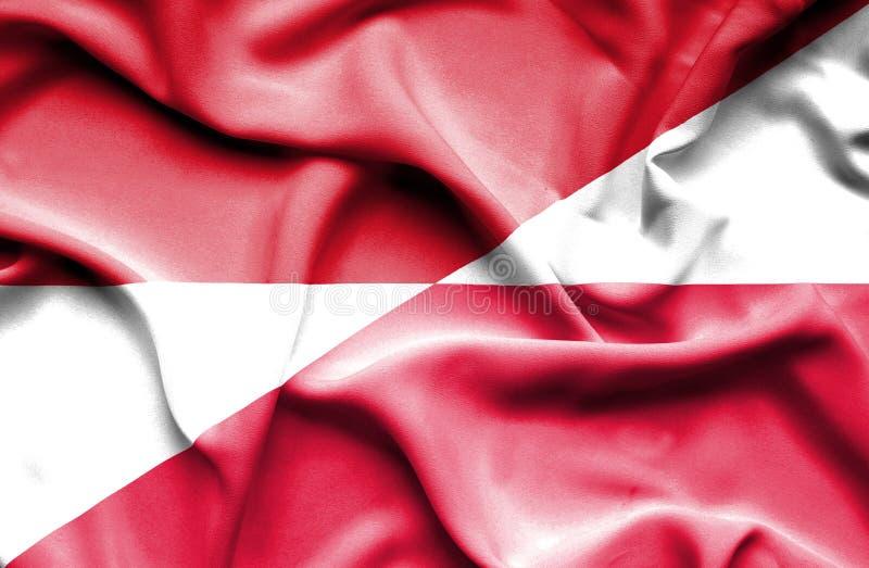 Waving flag of Poland and Monaco vector illustration