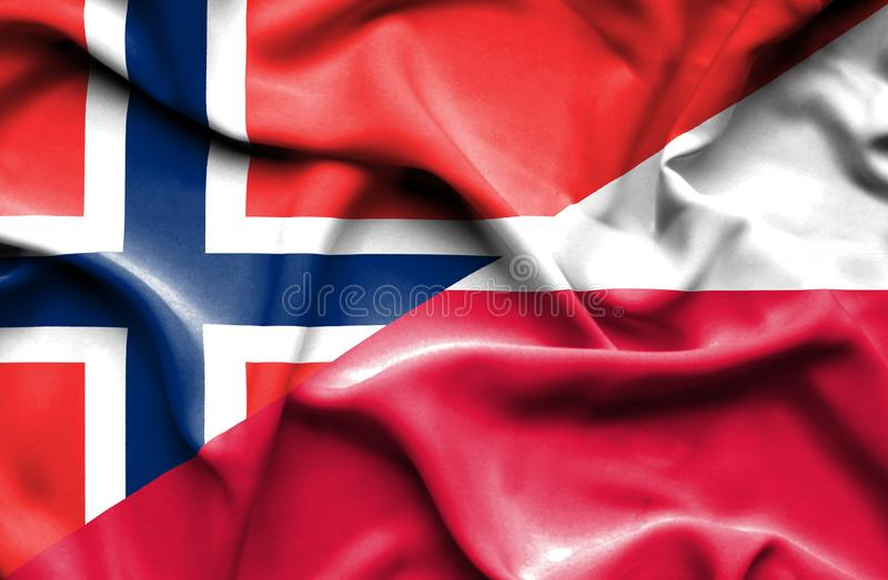 Waving flag of Poland and Norway. Waving flag of Poland and vector illustration