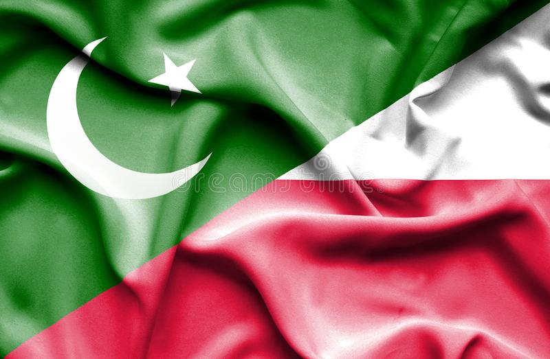 Waving flag of Poland and Pakistan stock illustration