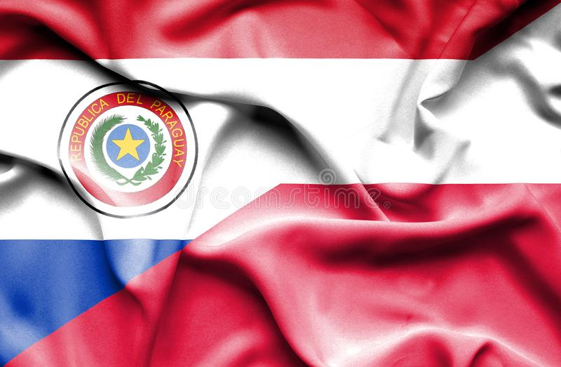 Waving flag of Poland and Paraguay royalty free illustration