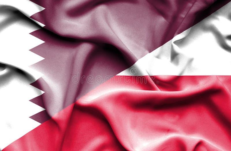 Waving flag of Poland and Qatar stock illustration