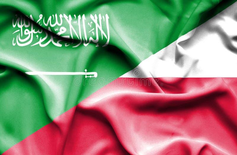 Waving flag of Poland and Saudi Arabia stock illustration