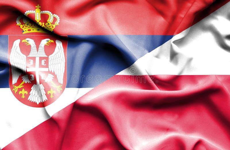 Waving flag of Poland and Serbia stock illustration