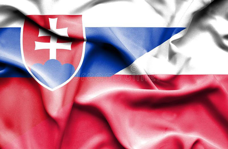 Waving flag of Poland and Slovak stock illustration