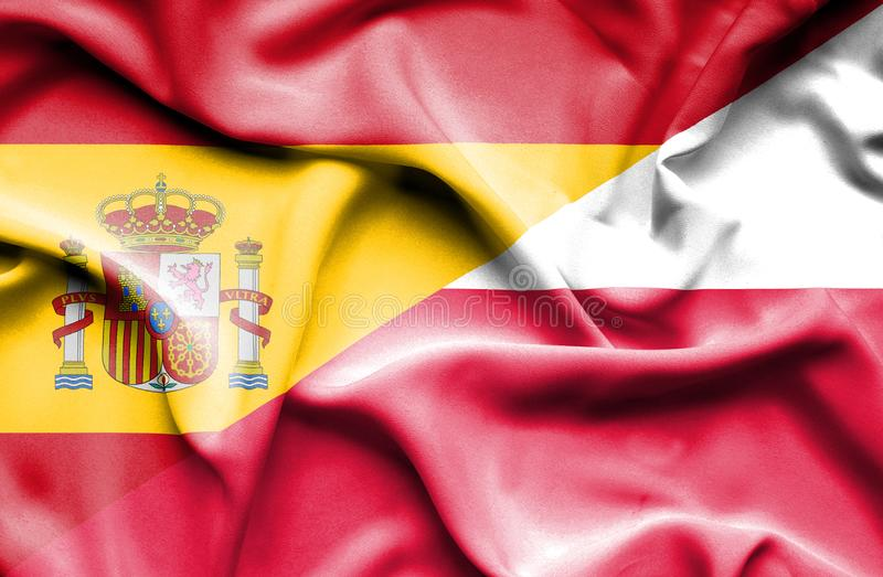 Waving flag of Poland and Spain vector illustration