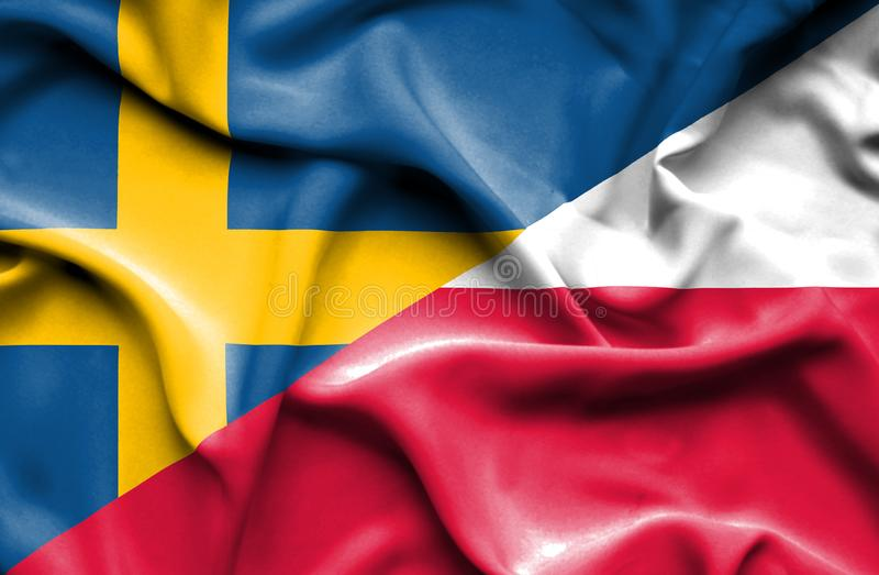 Waving flag of Poland and Sweden. Waving flag of Poland and stock illustration