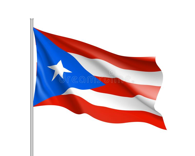 Waving flag of Puerto Rico in Caribbean sea. Illustration of Caribbean country flag on flagpole. Vector 3d icon isolated on white background royalty free illustration